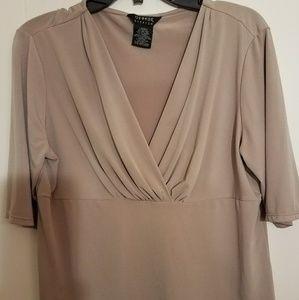 Beige stretch short sleeve shirt